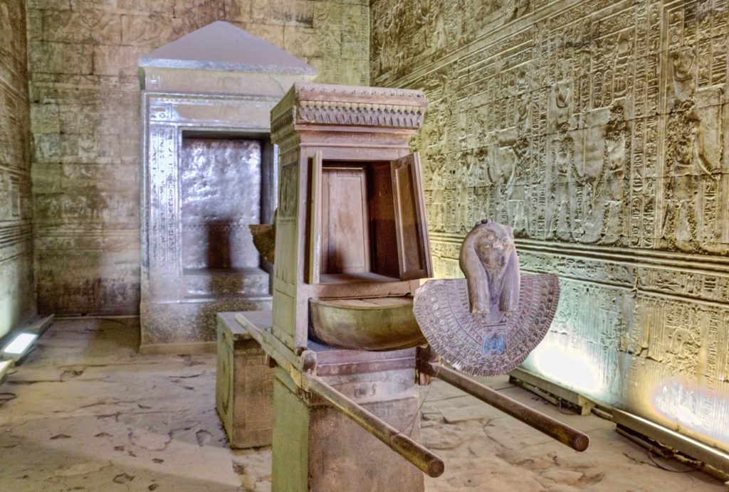 Reproduction Of The Barque (boat) Shrine In The Innermost Sanctum Of The  Temple Of Horus At Edfu, The Egyptian Equivalent Of The Israelite Holy Of  Holies.