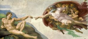 Painting by Michelangelo Buonarotti The Creation of Adam