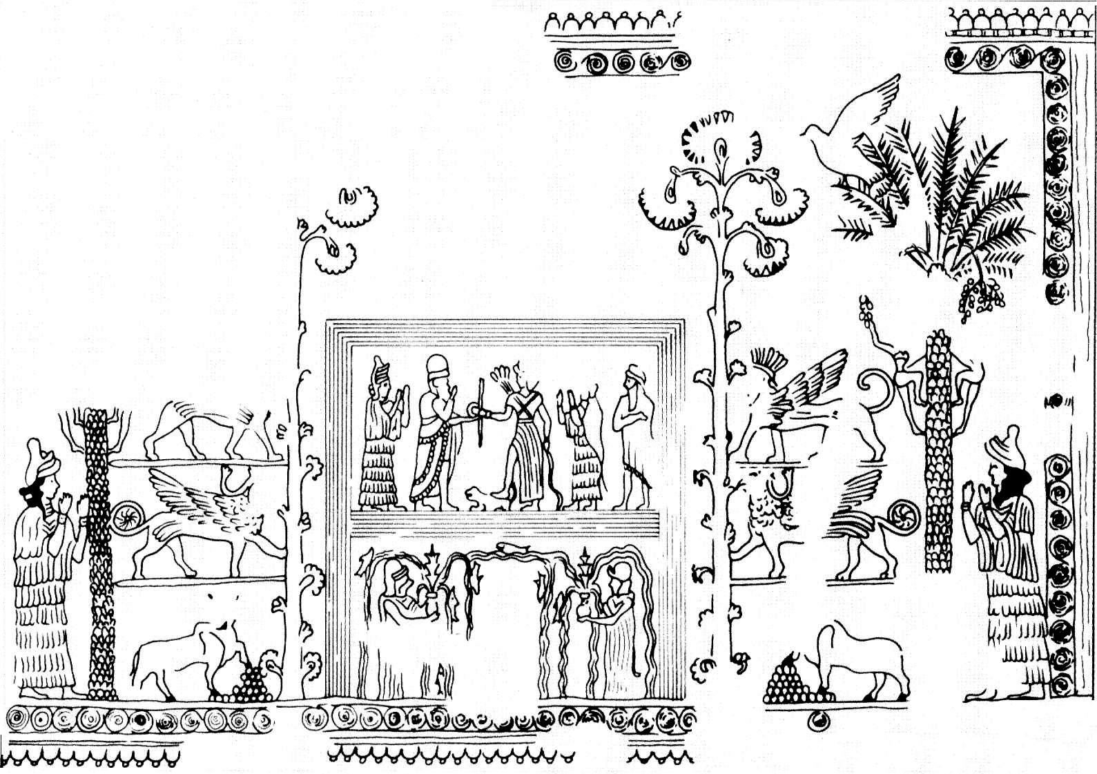 Line-drawing of the Mari Investiture Panel