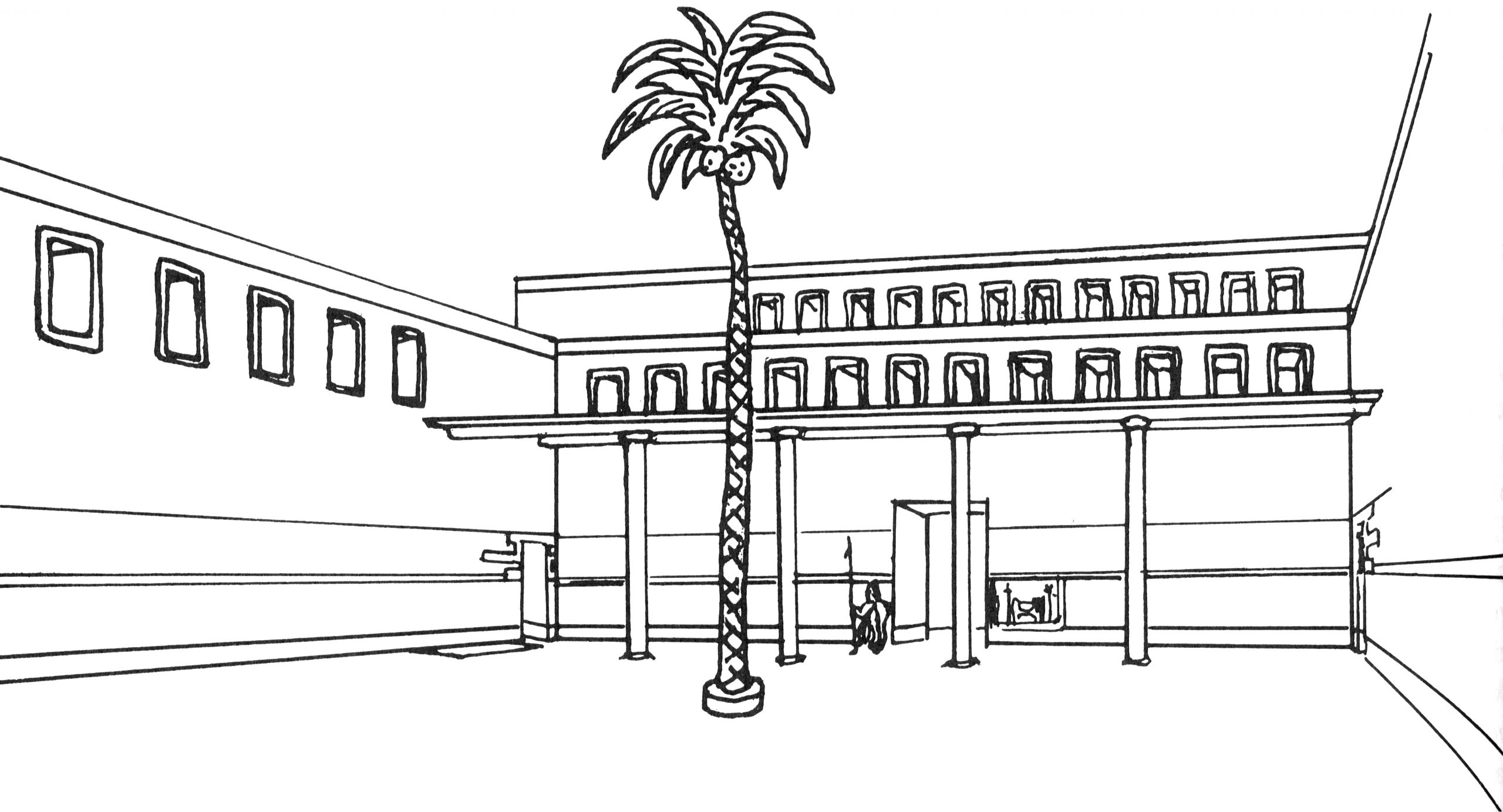 Margueron's reconstruction of the Court of the Palm with an artificial tree