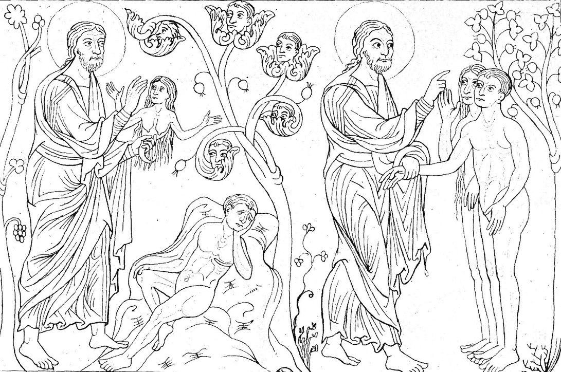 Left: God Creating Eve. Right: God Instructing Adam and Eve, late twelfth century
