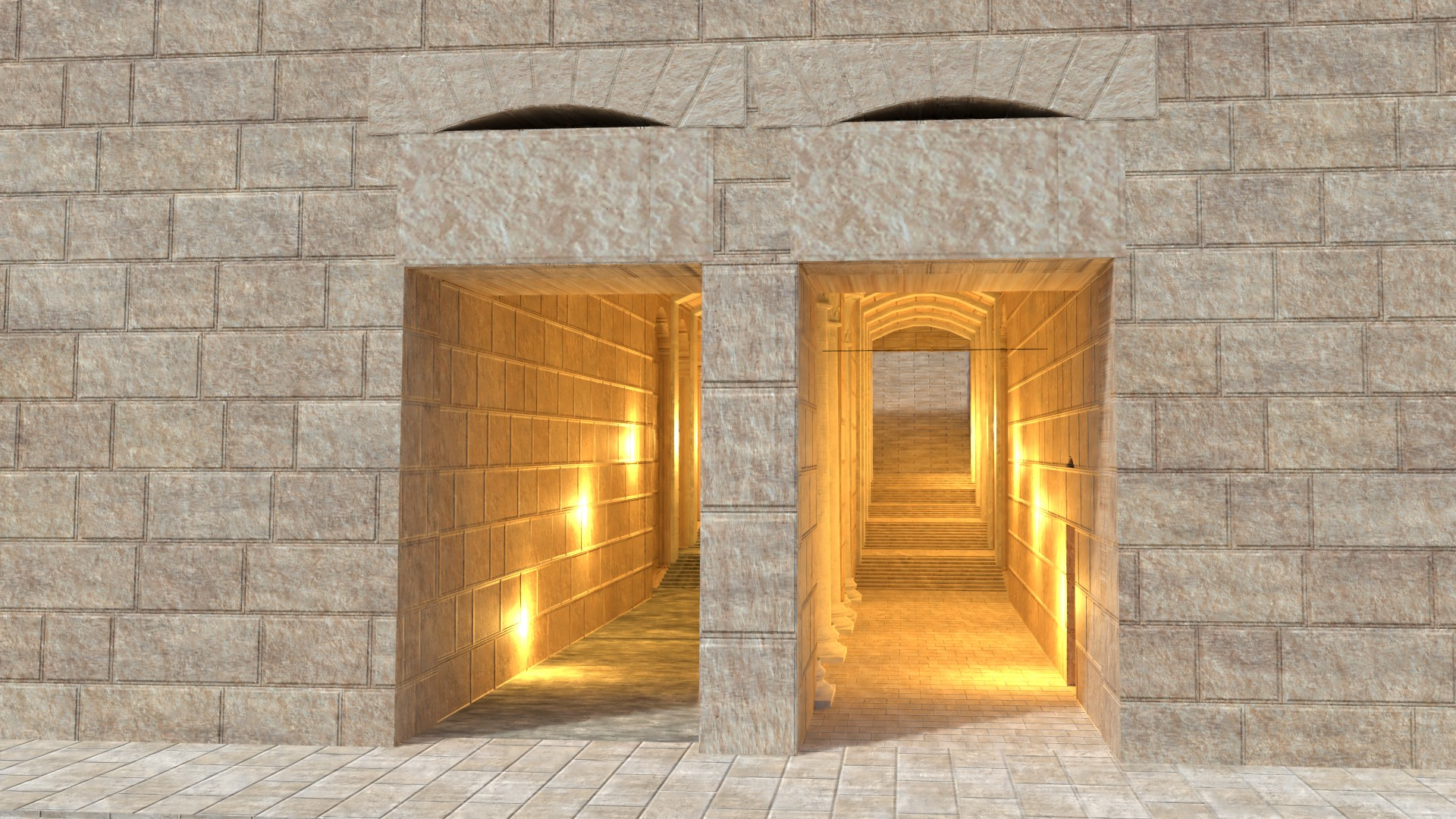 The lit interior of the staircase that led down from the temple area to the Hulda Gates