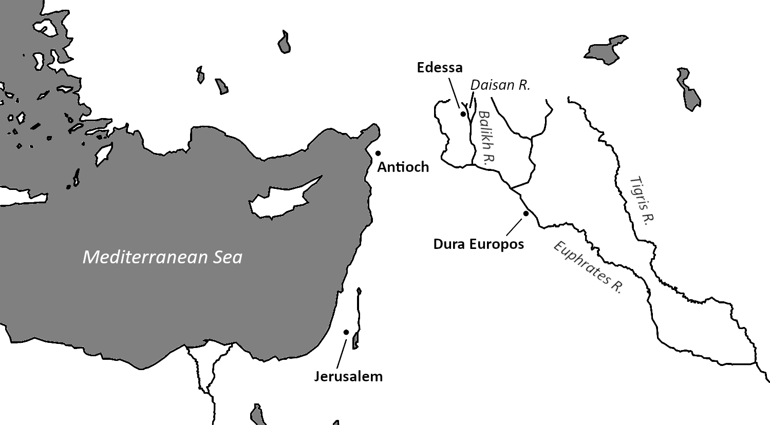 Map showing the locations of ancient Edessa and Dura Europos