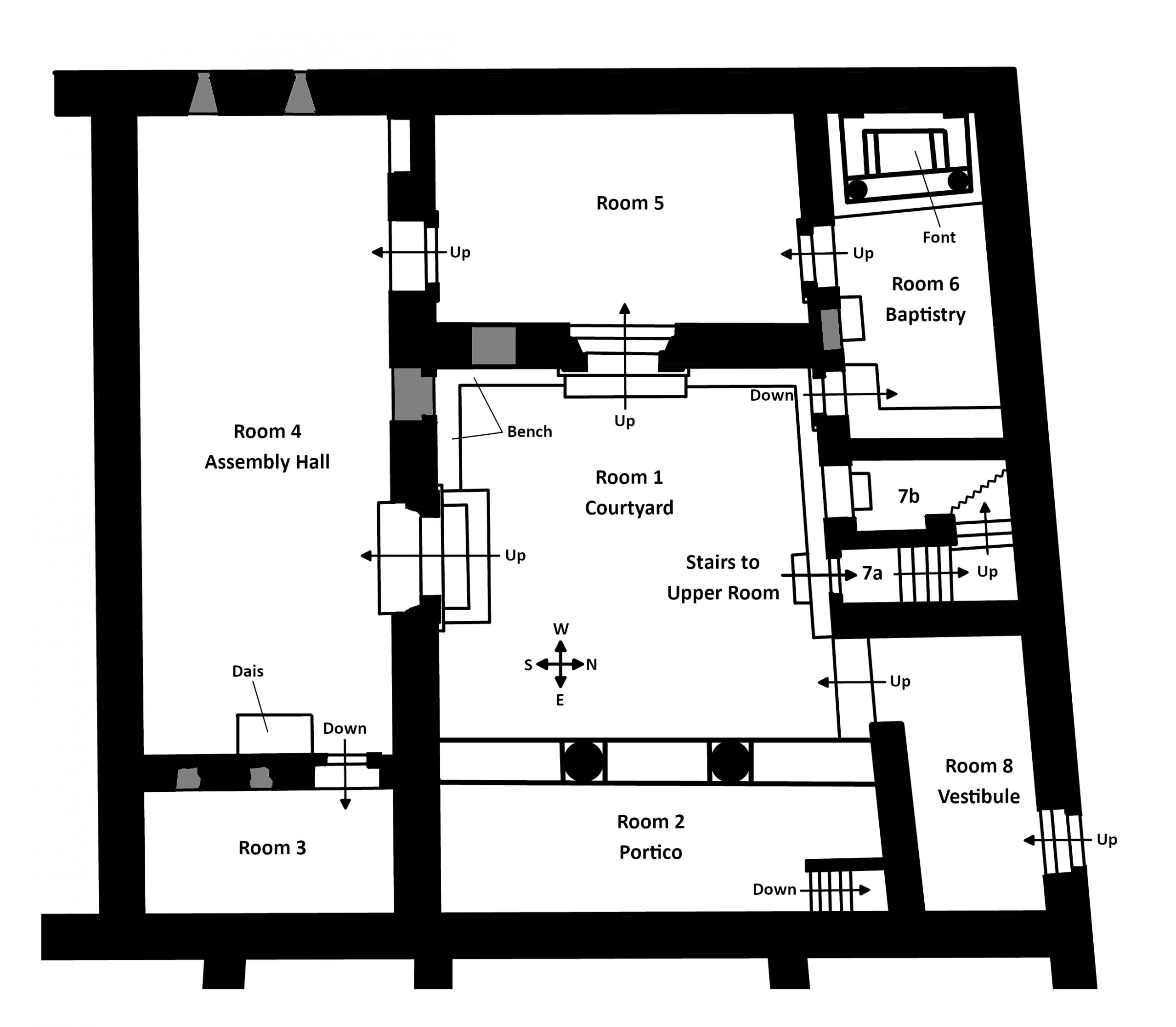 Floor plan of the Christian building at Dura Europos after renovation
