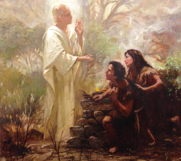 Walter Rane: The Angel with Adam and Eve.