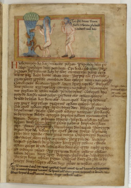 Illustration of Adam and Eve within an Old English manuscript of Genesis 3