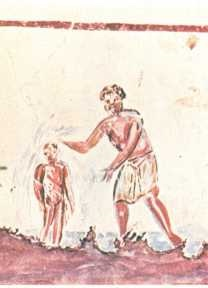 Early Christian Painting of a Baptism, Saint Calixte Catacomb, 3rd century
