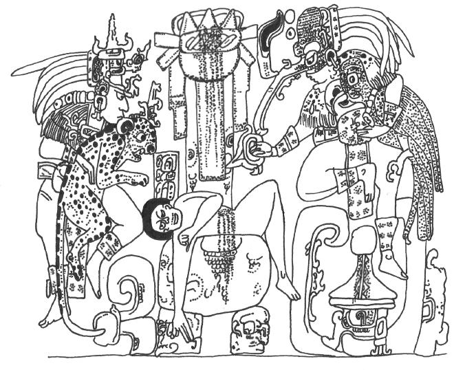 Classic Maya scene of sacrifice involving human, beast, and fowl.