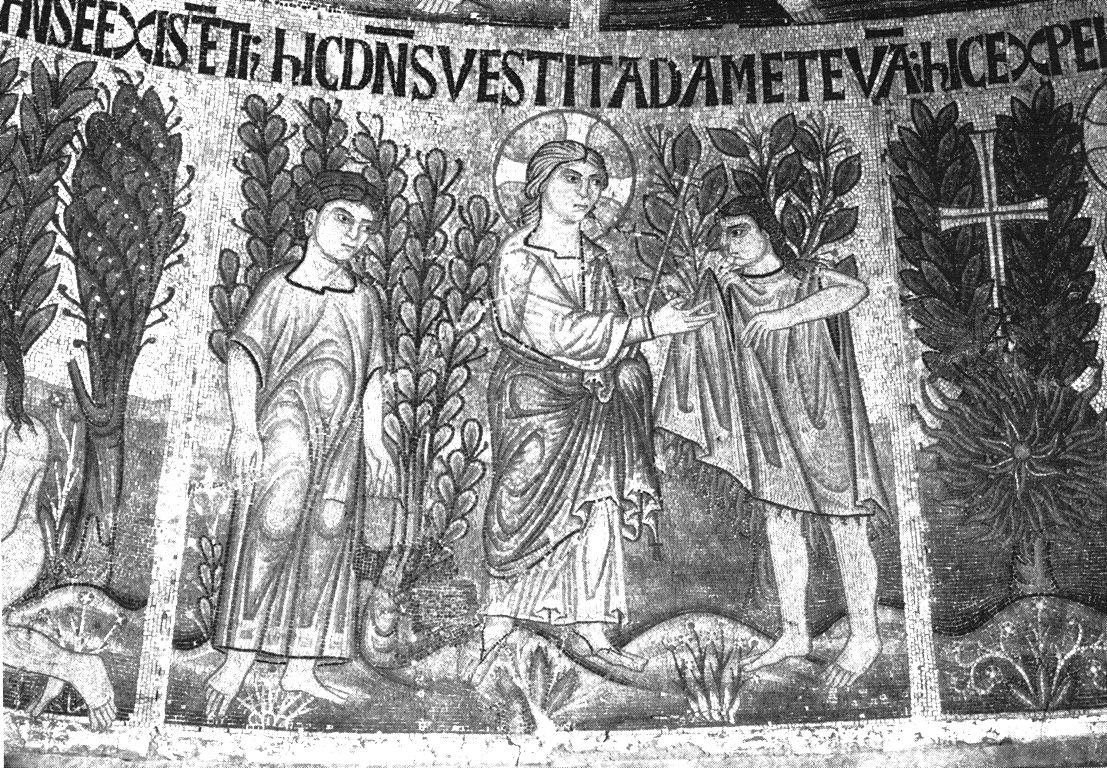 God Dressing Adam and Eve, 13th century.