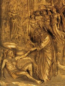 Lorenzo Ghiberti (1378-1455): Creation of Adam, from Gates of Paradise, 1425-1452.