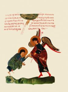 Yahoel Lifts the Fallen Abraham, Sylvester Codex, 14th century