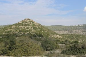 """Ṭūr Šimʻon (""""Mount Simeon"""") in the Nahal Sorek west of Jerusalem, possibly the Mount Simeon of Moses 7:2."""