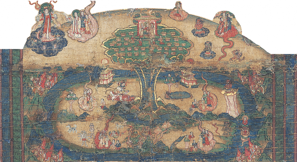 Detail of a wall hanging illustrating a Manichaean account of Enoch showing palaces at the top of a tree-like sacred mountain that surround a larger palace of Deity. Corresponding texts seem to describe events similar to the Book of Moses story of how Enoch and his people ascended to the bosom of God.