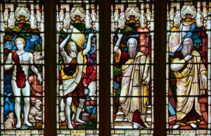 Window of the Patriarchs, Holy Trinity Church, Stratford Upon Avon, England. Notice the progression in clothing from left to right, perhaps indicating the artist's ideas about the presumed maturity of civilization in different eras. Later prophets also seem to get more hair. Enoch and Noah sport similar beards and clothing, but Noah's beard and fabric seem a little thicker.