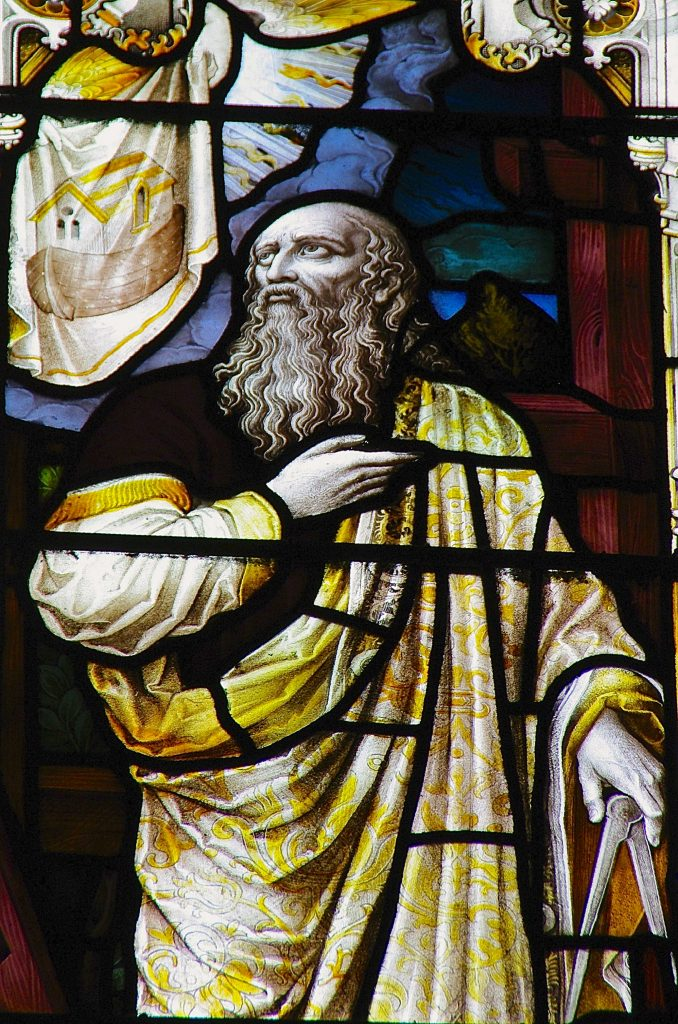 Figure 3. Noah Sees the Ark in Vision. Detail of Patriarchs Window, Holy Trinity Church, Stratford-upon-Avon, England.